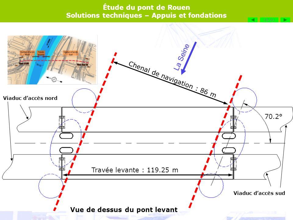 Étude du pont de Rouen Solutions techniques – Appuis et fondations Le socle sur lequel reposent les appuis du pont, ainsi que les gabions de protection, sont orientés de façon à être parallèles au courant de la Seine.