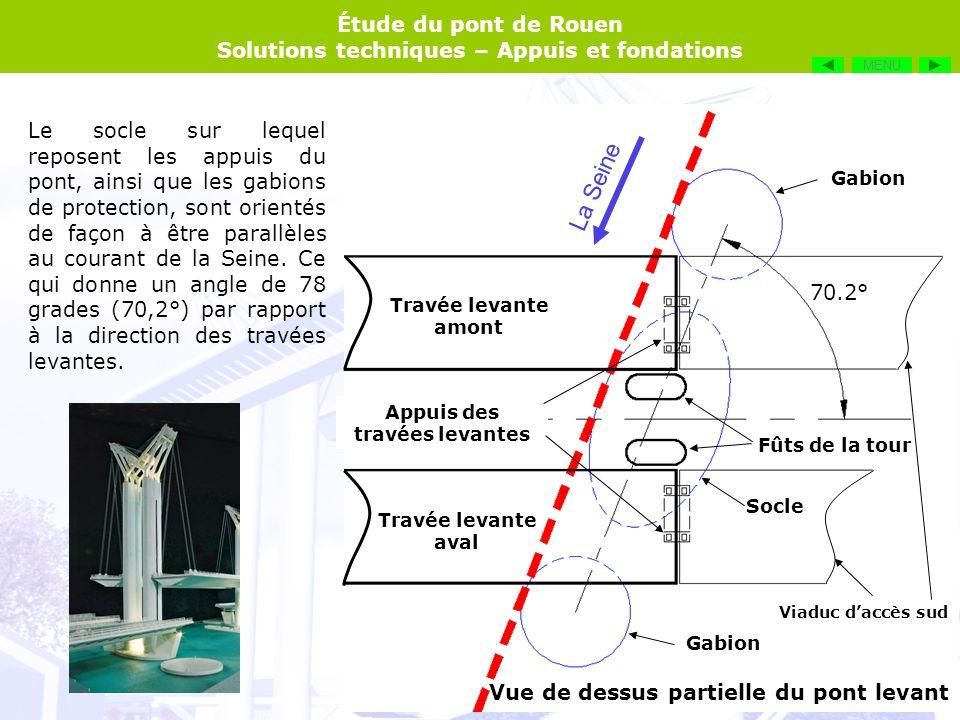 Étude du pont de Rouen Solutions techniques – Appuis et fondations Vue en élévation des appuis et fondations La Seine PHEC : + 5,67 NGF -8,70 NGF Lit de la Seine : -8,00 NGF -27,00 NGF -11.90 NGF Alluvions sablo-graveleuses Calcaire marneux PHEC : Niveau des Plus Hautes Eaux Connues NGF : Nivellement Général de la France (Altitude par rapport au niveau de la mer) MENU