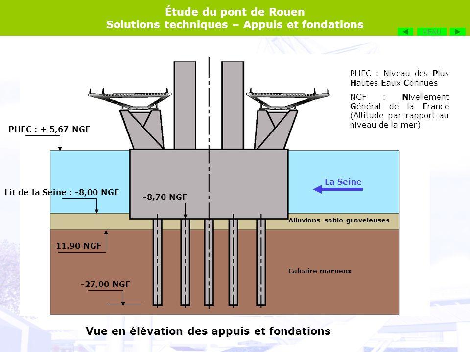 Étude du pont de Rouen Solutions techniques – Appuis et fondations Vue en élévation des appuis et fondations Les tabliers reposent sur des appuis en béton armé, par lintermédiaire de platines fixées en sous face sur la largeur de lappui.