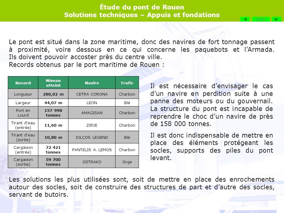 Étude du pont de Rouen Solutions techniques – Appuis et fondations A proximité des socles, la profondeur de la Seine est relativement importante (de lordre de 15 mètres).