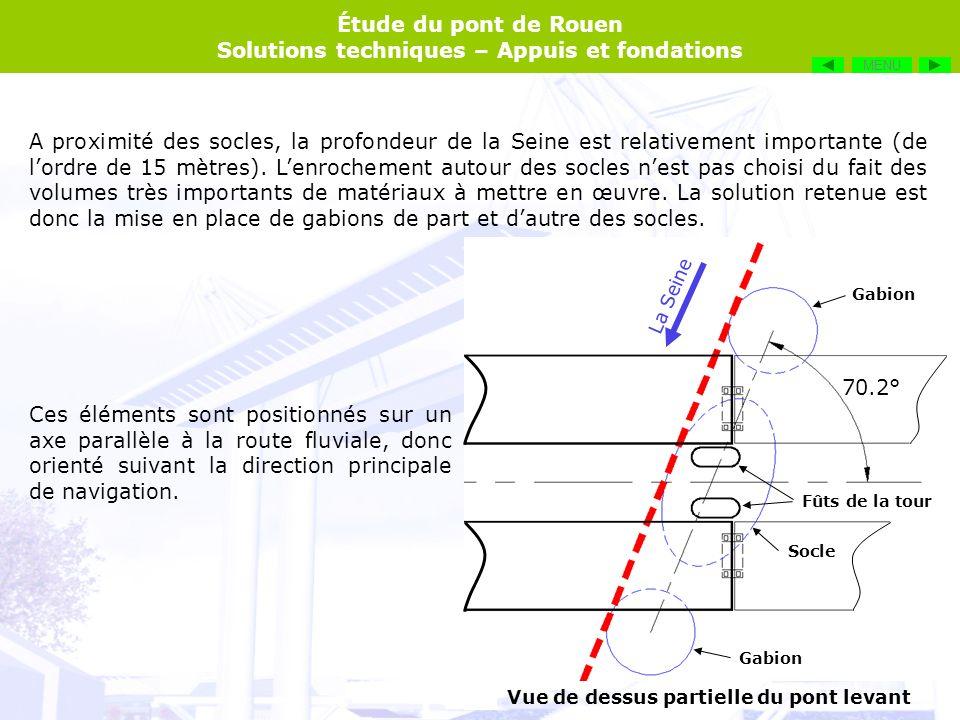 Étude du pont de Rouen Solutions techniques – Appuis et fondations La Seine Gabions Le remplissage en tout venant sert à alourdir les gabions, mais également à absorber lénergie en cas de choc, afin dendommager le moins possible le bateau.