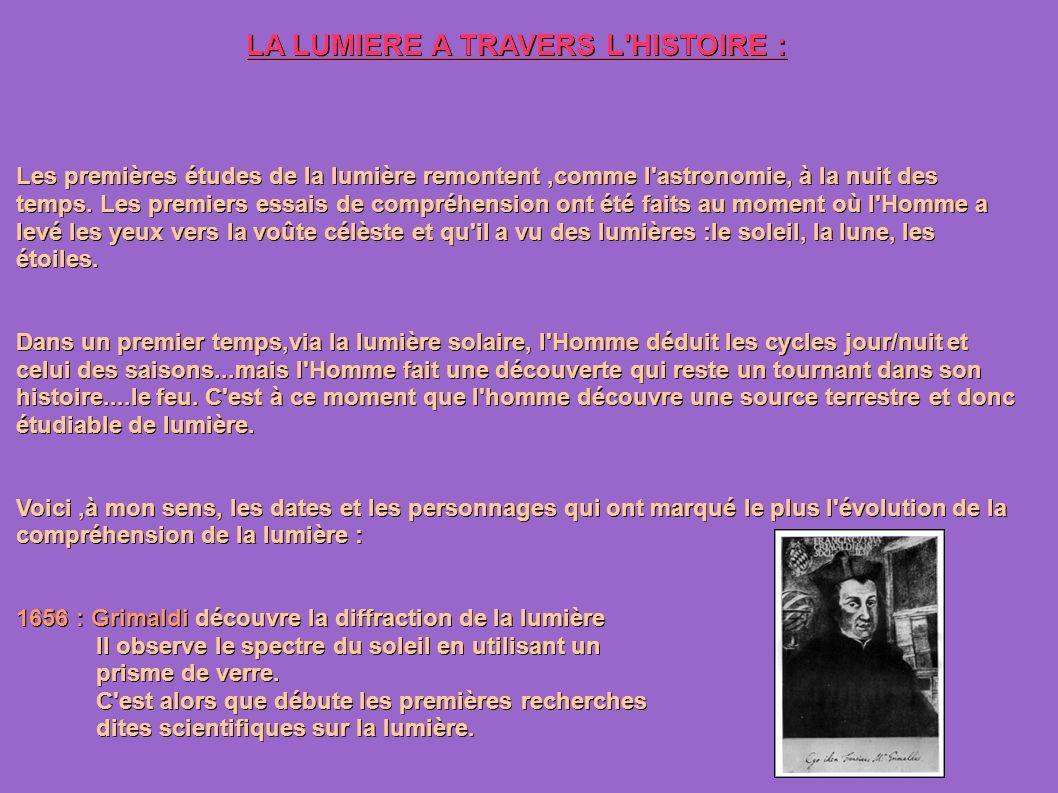 LA LUMIERE A TRAVERS L HISTOIRE : Les premières études de la lumière remontent,comme l astronomie, à la nuit des temps.