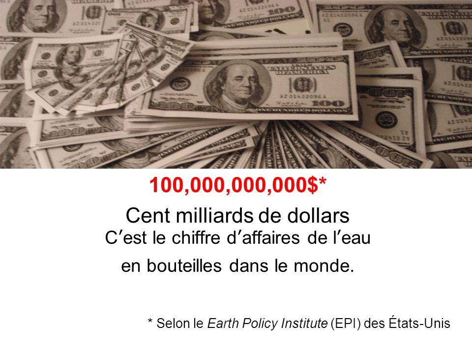 100,000,000,000$* Cent milliards de dollars Cest le chiffre daffaires de leau en bouteilles dans le monde.