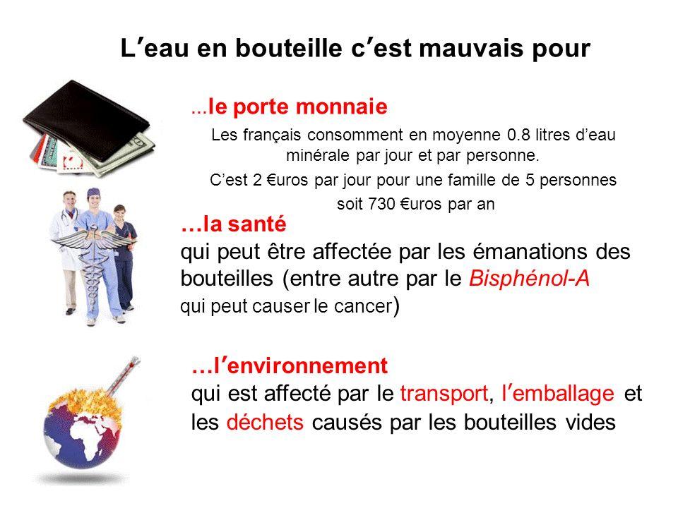 Leau en bouteille cest mauvais pour Les français consomment en moyenne 0.8 litres deau minérale par jour et par personne.