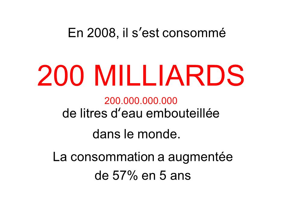 La consommation a augmentée de 57% en 5 ans dans le monde.