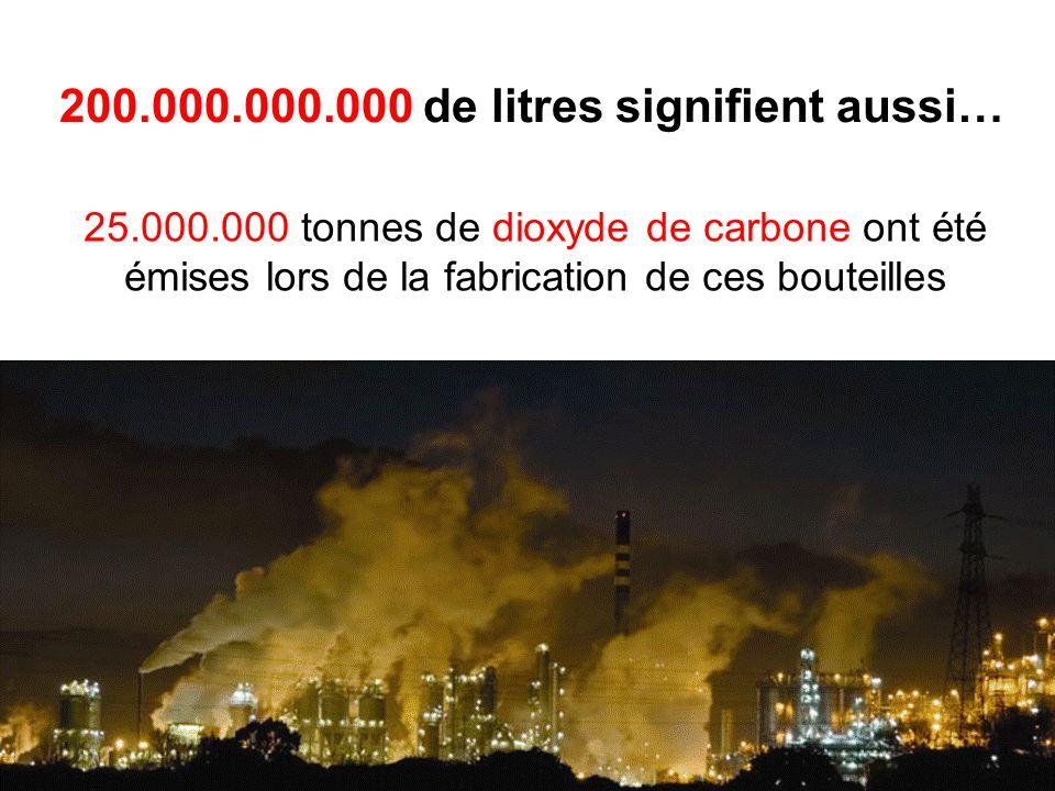 200.000.000.000 de litres signifient aussi… 25.000.000 tonnes de dioxyde de carbone ont été émises lors de la fabrication de ces bouteilles