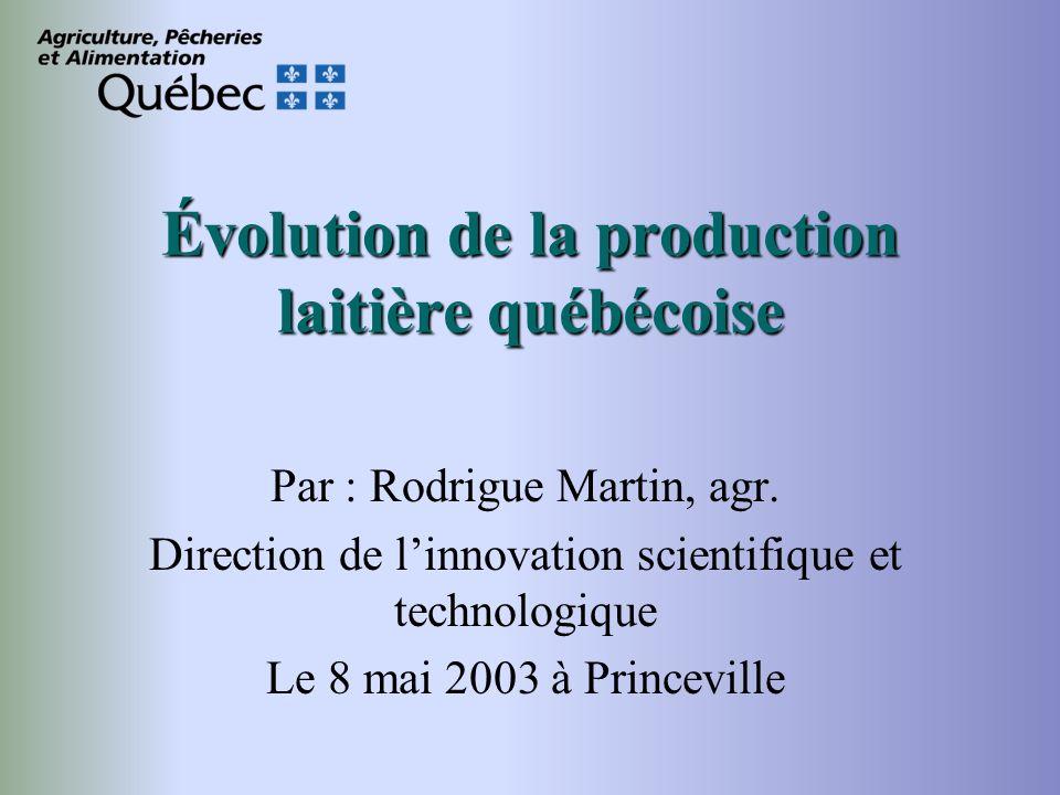 Évolution de la production laitière québécoise Par : Rodrigue Martin, agr.