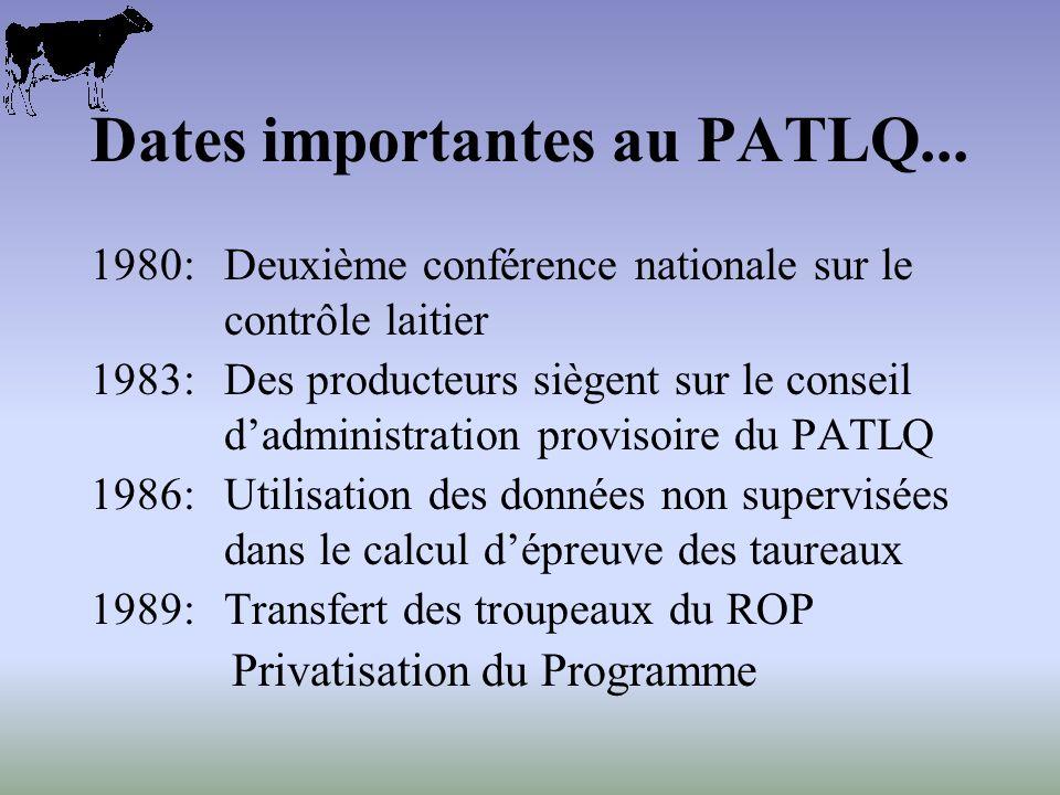 Dates importantes au PATLQ... 1980:Deuxième conférence nationale sur le contrôle laitier 1983:Des producteurs siègent sur le conseil dadministration p
