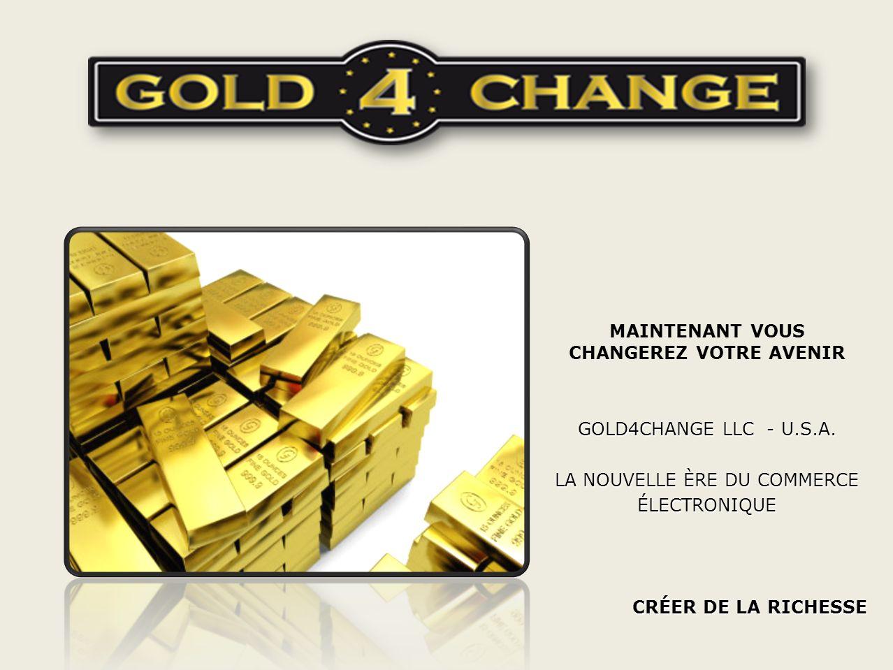 MAINTENANT VOUS CHANGEREZ VOTRE AVENIR GOLD4CHANGE LLC - U.S.A.