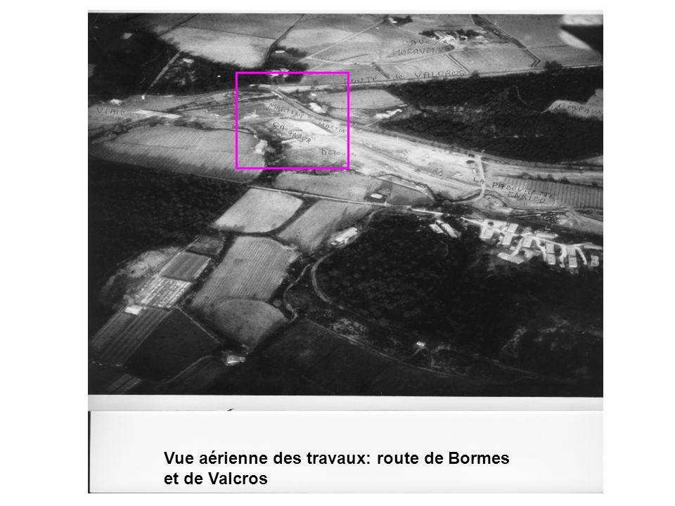 Vue aérienne des travaux: route de Bormes et de Valcros