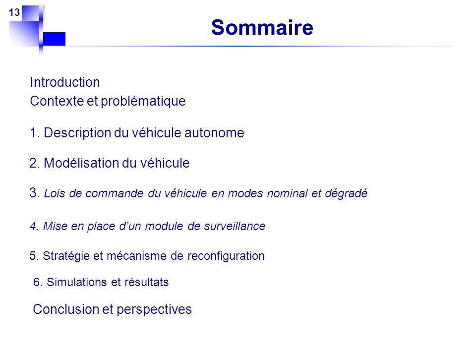 13 Sommaire Introduction Contexte et problématique 2. Modélisation du véhicule 1. Description du véhicule autonome Conclusion et perspectives 3. Lois