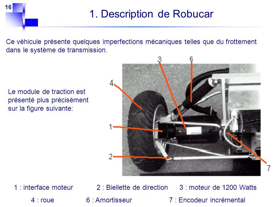 16 Ce véhicule présente quelques imperfections mécaniques telles que du frottement dans le système de transmission. Le module de traction est présenté