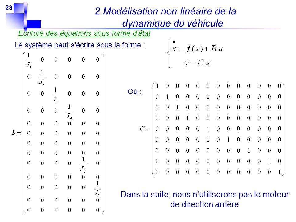 28 Ecriture des équations sous forme détat Le système peut sécrire sous la forme : Où : Dans la suite, nous nutiliserons pas le moteur de direction ar