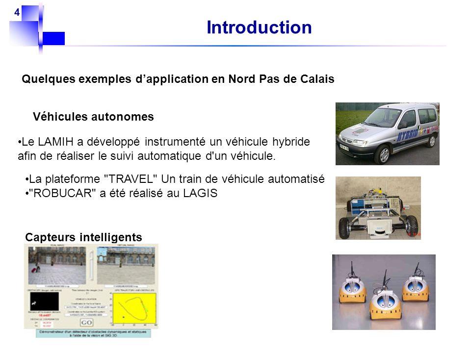 4 Introduction Quelques exemples dapplication en Nord Pas de Calais Véhicules autonomes Le LAMIH a développé instrumenté un véhicule hybride afin de r