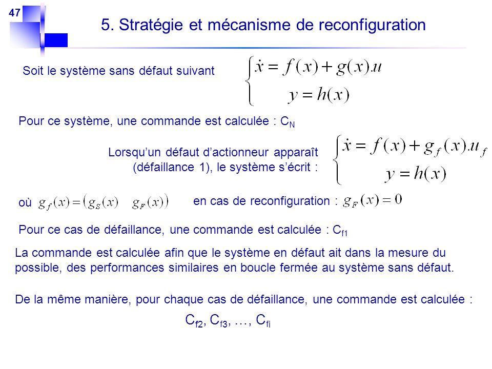 47 5. Stratégie et mécanisme de reconfiguration Soit le système sans défaut suivant Pour ce système, une commande est calculée : C N Lorsquun défaut d