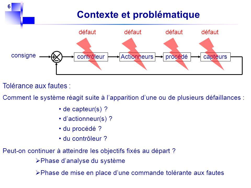 6 Contexte et problématique procédéActionneurscapteurscontrôleur consigne défaut Tolérance aux fautes : Comment le système réagit suite à lapparition