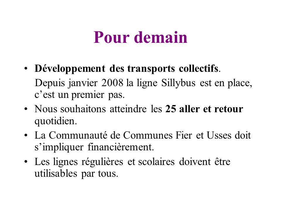 Pour demain Développement des transports collectifs. Depuis janvier 2008 la ligne Sillybus est en place, cest un premier pas. Nous souhaitons atteindr