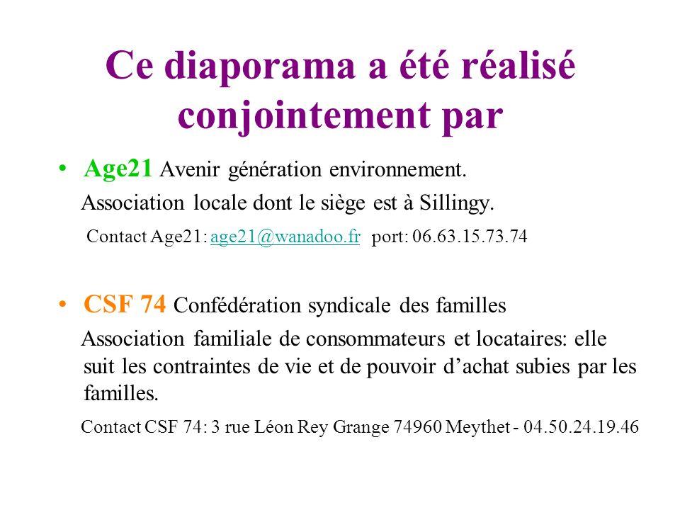 Ce diaporama a été réalisé conjointement par Age21 Avenir génération environnement. Association locale dont le siège est à Sillingy. Contact Age21: ag