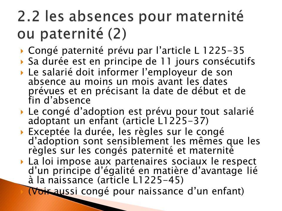 Congé paternité prévu par larticle L 1225-35 Sa durée est en principe de 11 jours consécutifs Le salarié doit informer lemployeur de son absence au mo