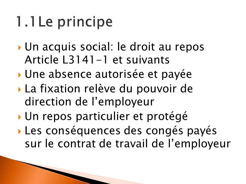 Un acquis social: le droit au repos Article L3141-1 et suivants Une absence autorisée et payée La fixation relève du pouvoir de direction de lemployeu