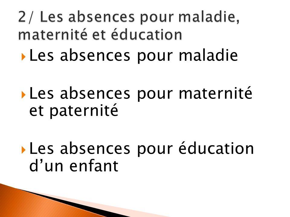 Les absences pour maladie Les absences pour maternité et paternité Les absences pour éducation dun enfant