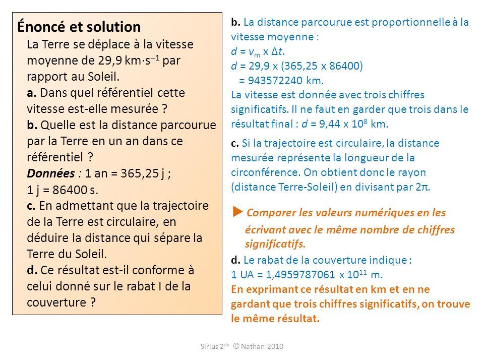 Énoncé et solution La Terre se déplace à la vitesse moyenne de 29,9 km·s –1 par rapport au Soleil. a. Dans quel référentiel cette vitesse est-elle mes