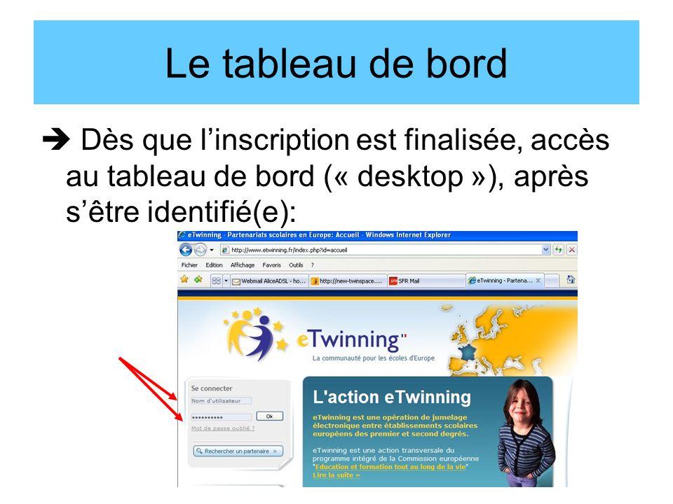 Le tableau de bord Dès que linscription est finalisée, accès au tableau de bord (« desktop »), après sêtre identifié(e):