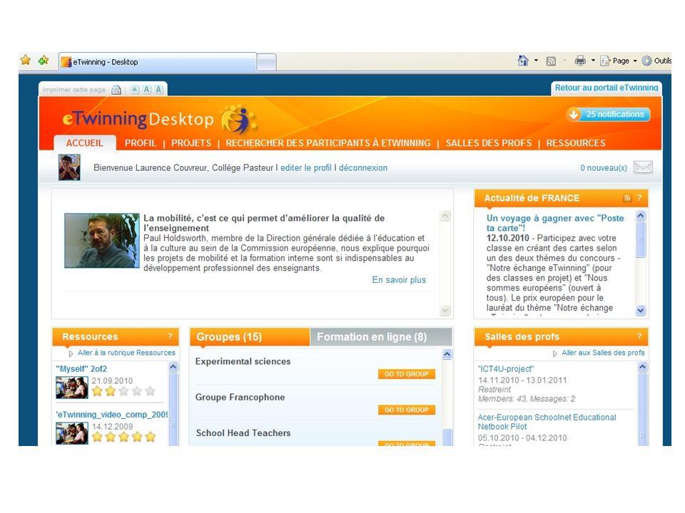 Editer son profil Modifier ses informations personnelles, auxquelles les autres inscrits auront accès, afin de les compléter.
