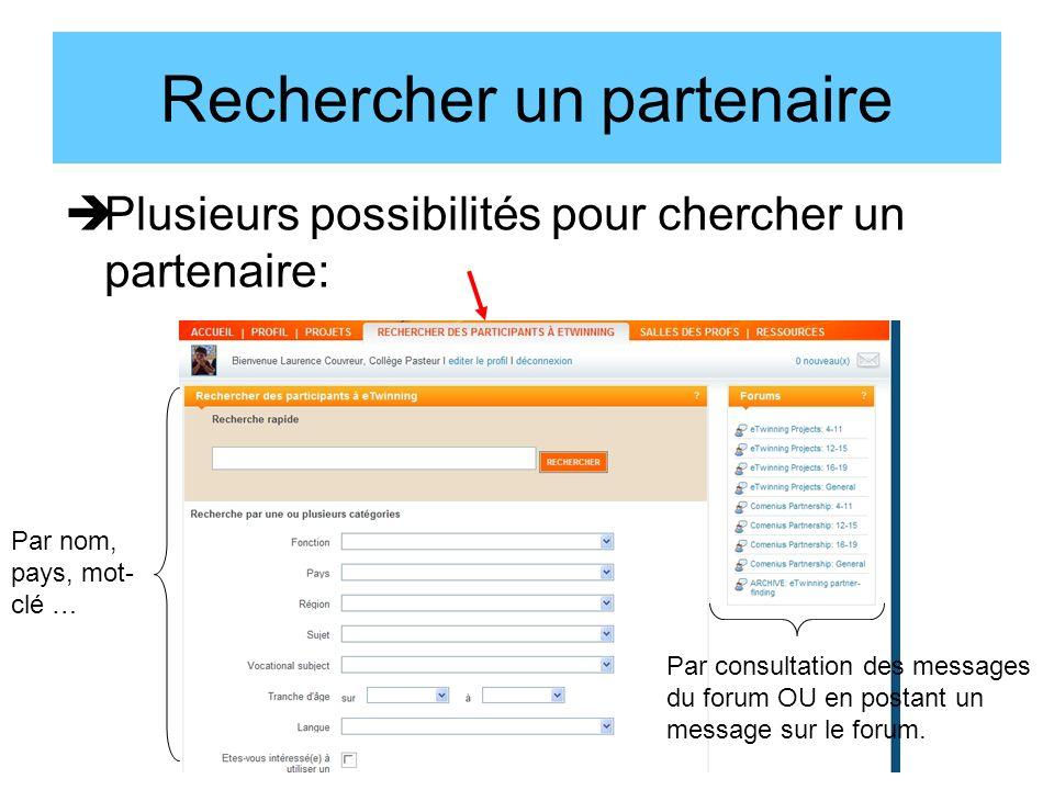 Plusieurs possibilités pour chercher un partenaire: Rechercher un partenaire Par nom, pays, mot- clé … Par consultation des messages du forum OU en postant un message sur le forum.