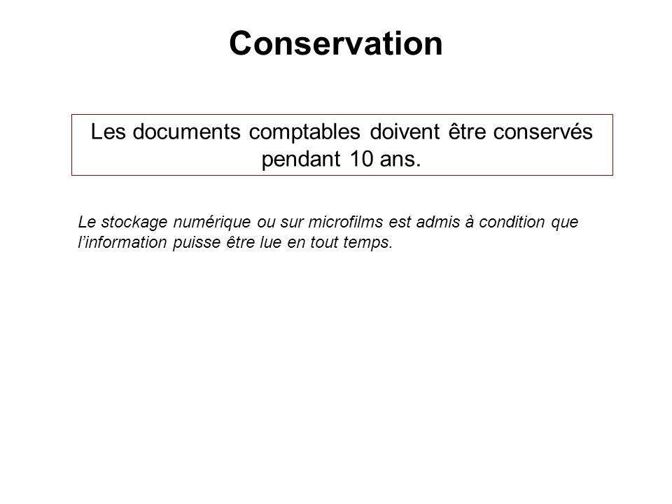 Conservation Les documents comptables doivent être conservés pendant 10 ans. Le stockage numérique ou sur microfilms est admis à condition que linform