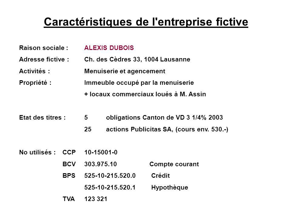 Caractéristiques de l'entreprise fictive Raison sociale :ALEXIS DUBOIS Adresse fictive :Ch. des Cèdres 33, 1004 Lausanne Activités :Menuiserie et agen