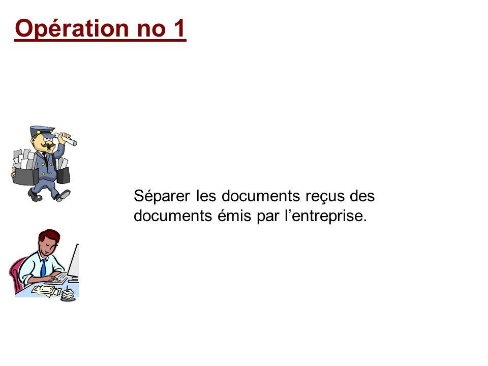 Opération no 1 Séparer les documents reçus des documents émis par lentreprise.