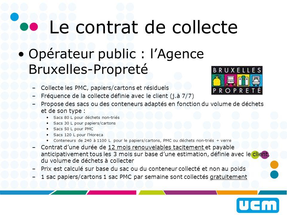 Un contrat de collecte Opérateur privé : collecteur agréé par lIBGE –Liste disponible sur http://www.bruxellesenvironnement.be/http://www.bruxellesenvironnement.be/ –Offre différente selon collecteur