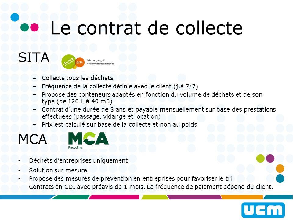 Le contrat de collecte STAR -Collecte tous les déchets et propose des solutions sur mesures pour les déchets spécifiques -Propose des conteneurs de 240 L à 1100 L, des Big Bag pour les déchets de construction, et des conteneurs de 8 à 30 m3.