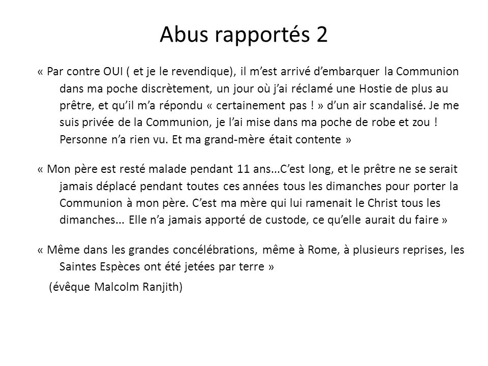 Abus rapportés 1 « Une touriste japonaise a pu emporter la Sainte Hostie à Notre-Dame de Paris et on la retrouve ensuite dans un album de photos au Ja