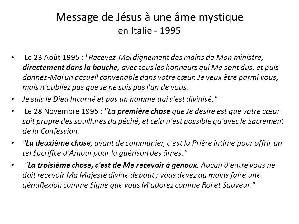 Vierge Marie à LEscorial en juillet 1986 « Q ue l'on a peu de respect pour l'Eucharistie ! Que de fois, Je vous ai dit :