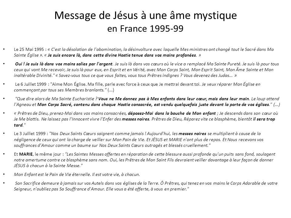 Message de Jésus à une âme mystique en Italie - 1995 Le 23 Août 1995 :