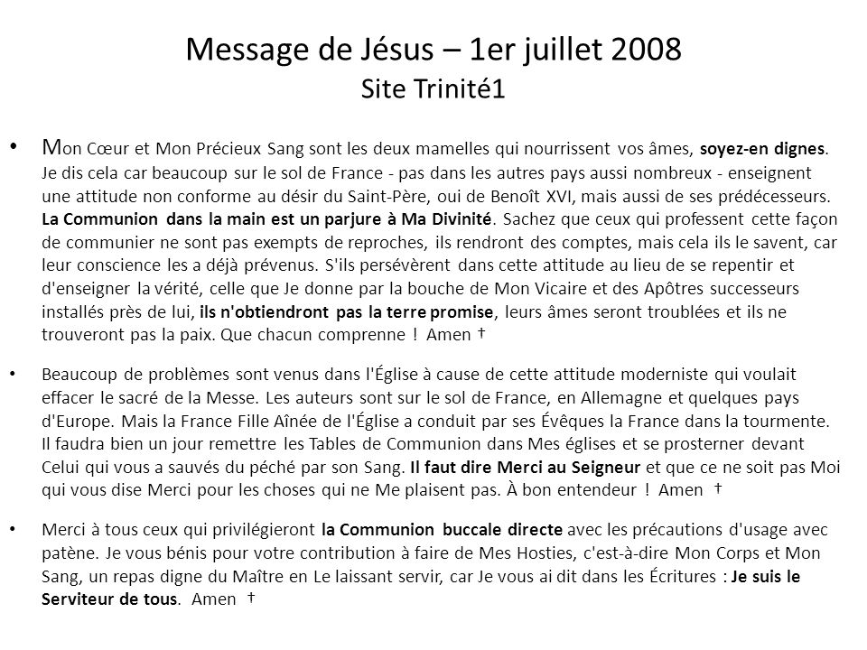Message de Jésus – 15 octobre 2005 Site Trinité1 Recevez en vos cœurs sa lumière et sa force. Prenez ombrage sous son aile. Demandez-Lui de vous purif