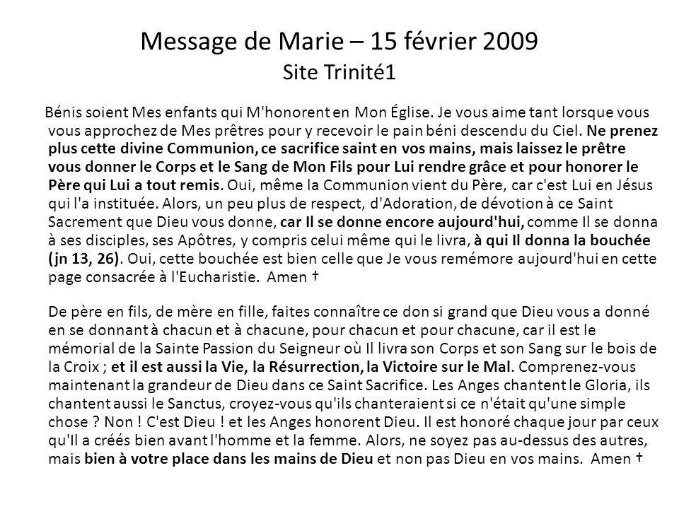 Message de Jésus – 1er juillet 2008 Site Trinité1 M on Cœur et Mon Précieux Sang sont les deux mamelles qui nourrissent vos âmes, soyez-en dignes. Je