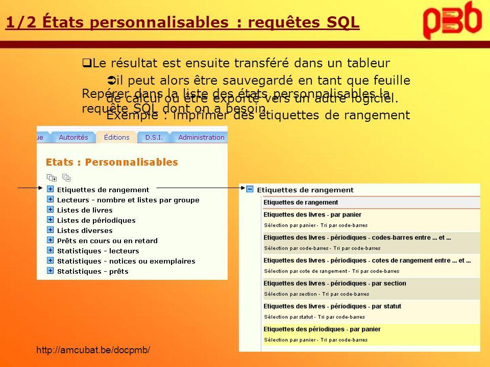 Choisir dans la liste le panier dexemplaires concerné 1/2 États personnalisables : requêtes SQL Exécuter la requête SQL adéquate http://amcubat.be/docpmb/