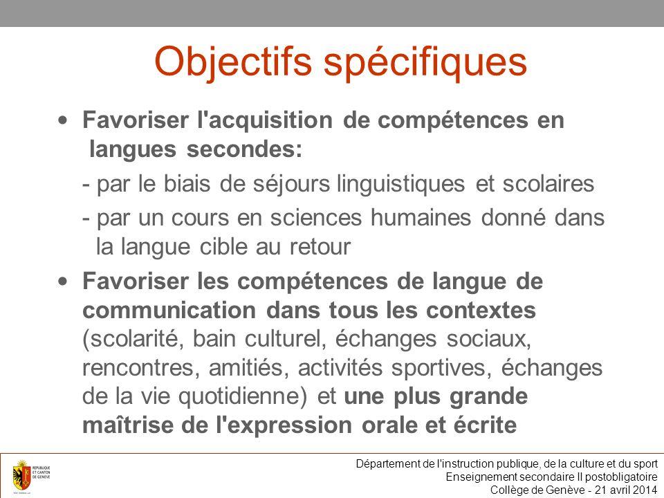 Spécificité Un ou deux séjours linguistiques et scolaires dans une région de la langue concernée Département de l instruction publique, de la culture et du sport Enseignement secondaire II postobligatoire Collège de Genève
