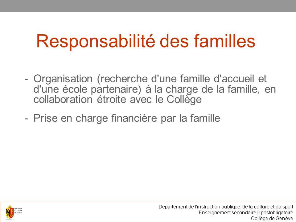 Responsabilité des familles -Organisation (recherche d une famille d accueil et d une école partenaire) à la charge de la famille, en collaboration étroite avec le Collège -Prise en charge financière par la famille Département de l instruction publique, de la culture et du sport Enseignement secondaire II postobligatoire Collège de Genève