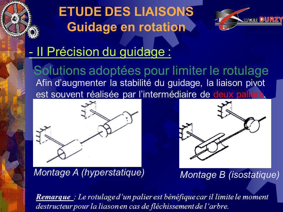 ETUDE DES LIAISONS Guidage en rotation Solutions adoptées pour limiter le rotulage - II Précision du guidage : Montage A (hyperstatique) Afin daugmenter la stabilité du guidage, la liaison pivot est souvent réalisée par lintermédiaire de deux paliers.