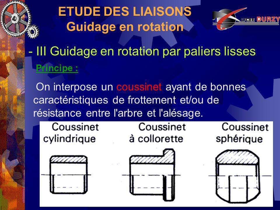 ETUDE DES LIAISONS Guidage en rotation - III Guidage en rotation par paliers lisses Principe : On interpose un coussinet ayant de bonnes caractéristiques de frottement et/ou de résistance entre l arbre et l alésage.