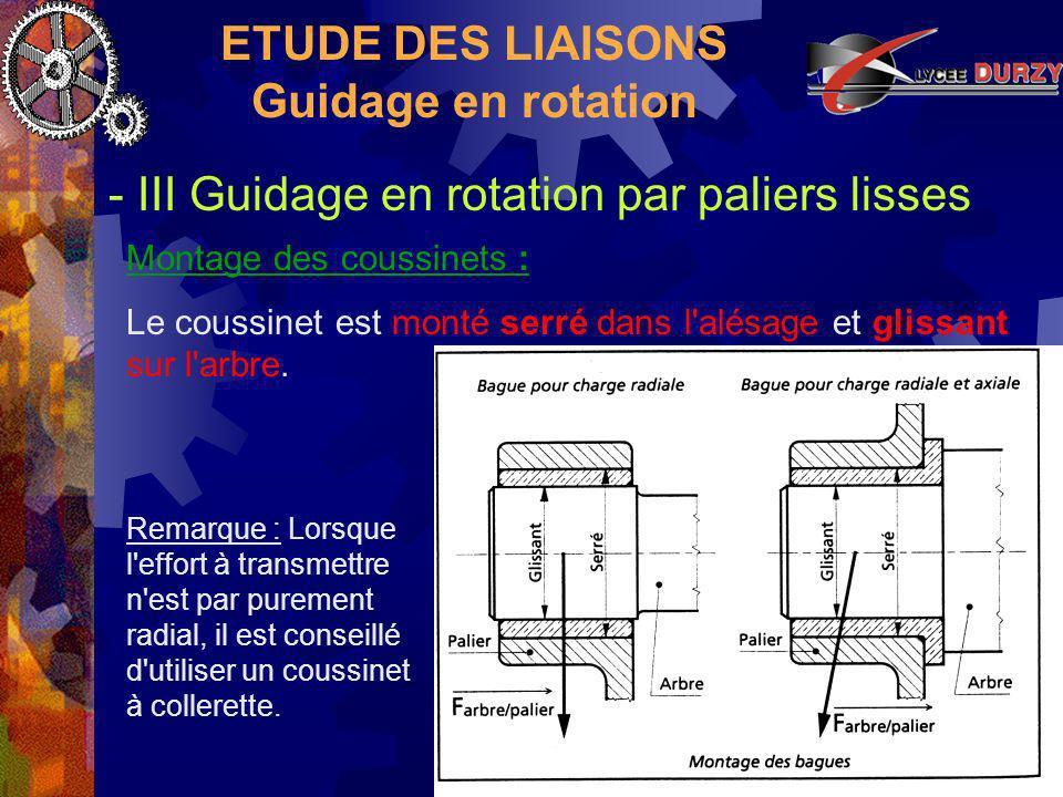 ETUDE DES LIAISONS Guidage en rotation - III Guidage en rotation par paliers lisses Montage des coussinets : Le coussinet est monté serré dans l alésage et glissant sur l arbre.