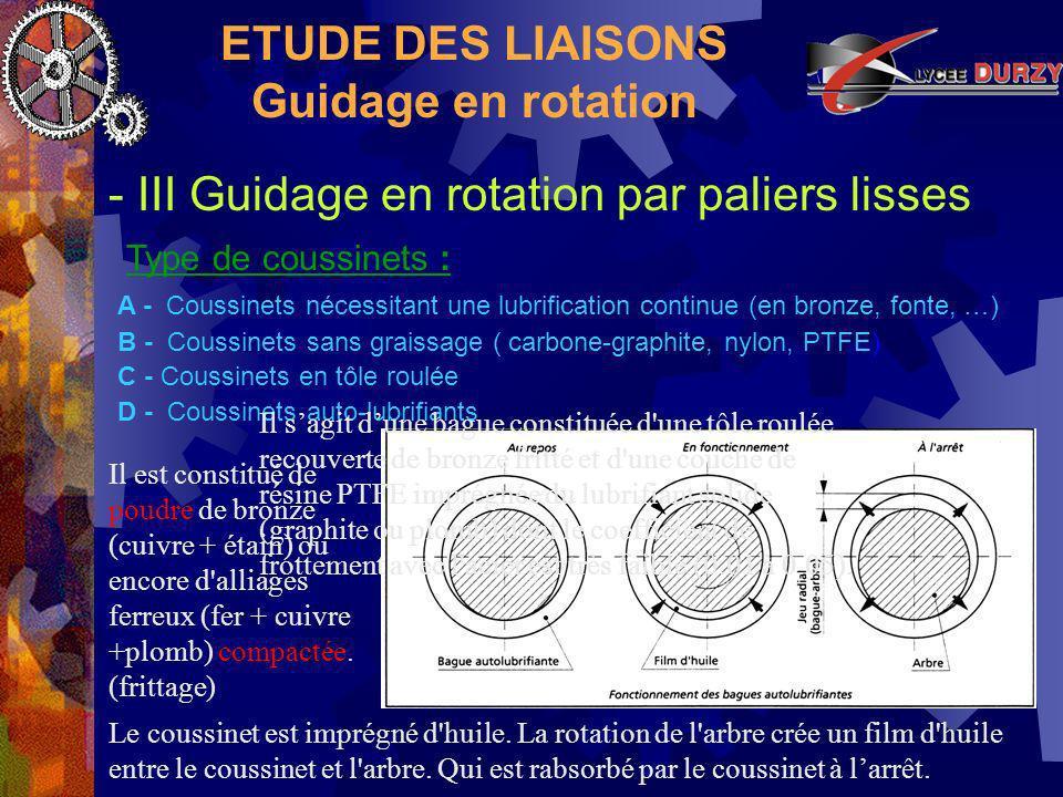 ETUDE DES LIAISONS Guidage en rotation - III Guidage en rotation par paliers lisses Type de coussinets : A - Coussinets nécessitant une lubrification continue (en bronze, fonte, …) B - Coussinets sans graissage ( carbone-graphite, nylon, PTFE) D - Coussinets auto-lubrifiants Le coussinet est imprégné d huile.