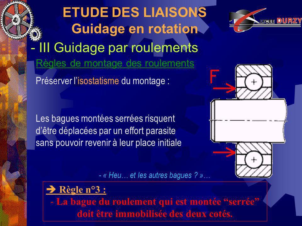 ETUDE DES LIAISONS Guidage en rotation - III Guidage par roulements Règles de montage des roulements Règle n°3 : - La bague du roulement qui est montée serrée doit être immobilisée des deux cotés.