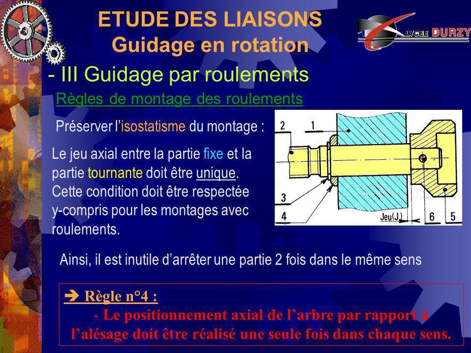 ETUDE DES LIAISONS Guidage en rotation - III Guidage par roulements Règles de montage des roulements Règle n°4 : - Le positionnement axial de larbre par rapport à lalésage doit être réalisé une seule fois dans chaque sens.