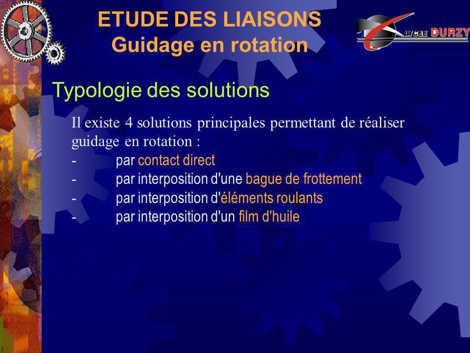 ETUDE DES LIAISONS Guidage en rotation Typologie des solutions Il existe 4 solutions principales permettant de réaliser guidage en rotation : - par contact direct - par interposition d une bague de frottement - par interposition d éléments roulants - par interposition d un film d huile