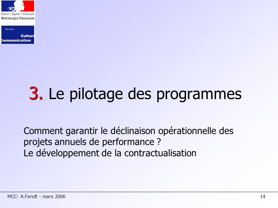 MCC- A.Fendt - mars 200614 3. 3. Le pilotage des programmes Comment garantir le déclinaison opérationnelle des projets annuels de performance ? Le dév